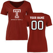 Women's Cardinal Temple Owls Personalized Basketball Slim Fit T-Shirt