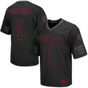 Men's Colosseum #1 Black Louisville Cardinals Blackout Football Jersey
