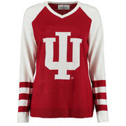 Women's Crimson Indiana Hoosiers Logo V-Neck Sweater
