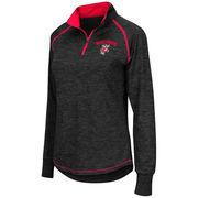 Women's Colosseum Black Wisconsin Badgers Bikram 1/4 Zip Long Sleeve Jacket