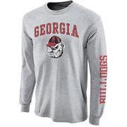 Mens Georgia Bulldogs Gray Big Arch N' Logo Love Sleeve T-Shirt