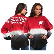 Women's Red Wisconsin Badgers Ombre Long Sleeve Dip-Dyed Spirit Jersey