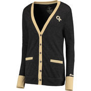Women's Colosseum Charcoal GA Tech Yellow Jackets Black Board Cardigan