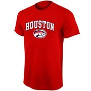 Mens Houston Cougars Red Mid Size Arch Over Logo T-Shirt