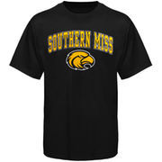 Mens Black Southern Miss Golden Eagles Arch Over Logo T-Shirt