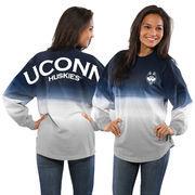 Women's Navy UConn Huskies Ombre Long Sleeve Dip-Dyed Spirit Jersey