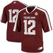 Mens Texas A&M Aggies No. 12 adidas Maroon Replica Football Jersey