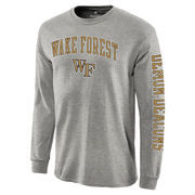 Men's Fanatics Branded Gray Wake Forest Demon Deacons Distressed Arch Over Logo Long Sleeve Hit T-Shirt