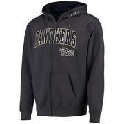 Men's Charcoal Pitt Panthers Arch & Logo Full Zip Hoodie
