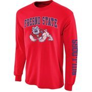 Mens Fresno State Bulldogs Red Arch & Logo Long Sleeve T-Shirt