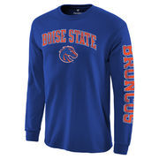 Men's Fanatics Branded Royal Boise State Broncos Distressed Arch Over Logo Long Sleeve Hit T-Shirt