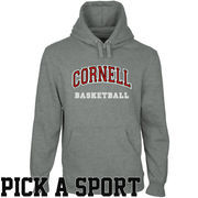 Cornell Big Red Custom Sport Arch Applique Pullover Hoodie - Gunmetal