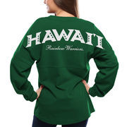 Women's Green Hawaii Warriors Pom Pom Spirit Jersey Oversized Long Sleeve T-Shirt