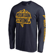 Men's Navy West Virginia Mountaineers Mountain Strong Hometown Long Sleeve T-Shirt