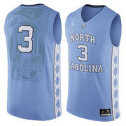 Men's Nike #3 Light Blue North Carolina Tar Heels Authentic Basketball Jersey
