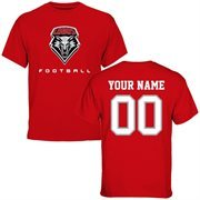 New Mexico Lobos Personalized Football T-Shirt - Cherry