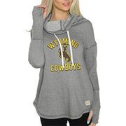 Women's Original Retro Brand Gray Wyoming Cowboys Triblend Funnel Neck Sweatshirt