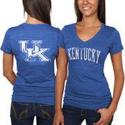Kentucky Wildcats Women's Slab Serif Tri-Blend V-Neck T-Shirt - Royal Blue
