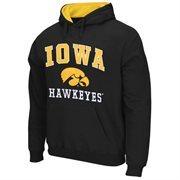 Mens Iowa Hawkeyes Black Arch & Logo Mascot Pullover Hoodie