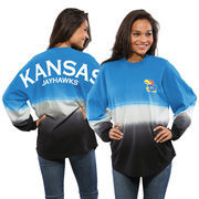 Women's Royal Kansas Jayhawks Ombre Long Sleeve Dip-Dyed Spirit Jersey