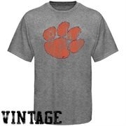 Clemson Tigers Distressed Big Logo Ring Spun T-Shirt - Gray