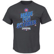 Men's Majestic Charcoal Chicago Cubs 2016 NL Central Division Champions Made for October Locker Room T-Shirt