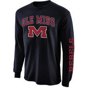 Mens Ole Miss Rebels Navy Blue Arch & Logo Long Sleeve T-Shirt