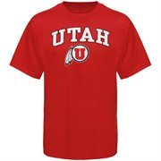 Mens Red Utah Utes Arch Over Logo T-Shirt