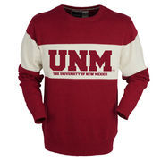 Men's Bruzer Red New Mexico Lobos Bar Down Crew Neck Sweater