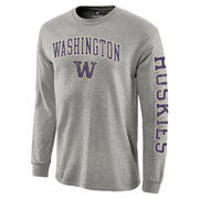 Men's Heathered Gray Washington Huskies Distressed Arch Over Logo Long Sleeve Hit T-Shirt