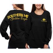 Women's Southern Miss Golden Eagles Black Pom Pom Jersey Oversized Long Sleeve T-Shirt