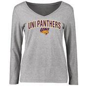Women's Ash Northern Iowa Panthers Proud Mascot Slim Fit Long Sleeve T-Shirt