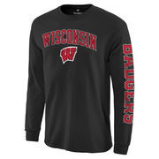 Men's Black Wisconsin Badgers Distressed Arch Over Logo Long Sleeve Hit T-Shirt