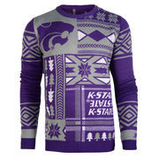 Men's Purple Kansas State Wildcats Patches Ugly Sweater