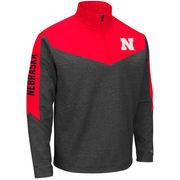 Men's Colosseum Charcoal/Scarlet Nebraska Cornhuskers Top Gun Quarter-Zip Pullover Jacket