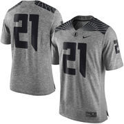 Men's Nike Heather Gray Oregon Ducks Gridiron Gray Limited Football Jersey