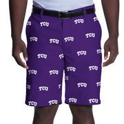 Men's Purple TCU Horned Frogs Ovation All Over Print Golf Shorts
