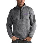Men's Antigua Heathered Charcoal TCU Horned Frogs Fortune 1/2-Zip Pullover Sweater