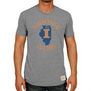 Men's Original Retro Brand Heather Gray Illinois Fighting Illini Vintage State Tri-Blend T-Shirt