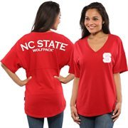 Women's Red NC State Wolfpack Short Sleeve Spirit Jersey V-Neck Top