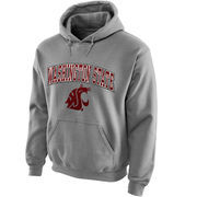 Men's New Agenda Gray Washington State Cougars Midsize Arch Over Logo Hoodie