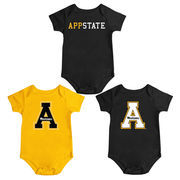 Infant Colosseum Black Appalachian State Mountaineers Triple Play 3-Pack Bodysuit Set