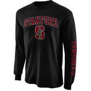 Men's New Agenda Black Stanford Cardinal Distressed Arch & Logo Long Sleeve T-Shirt