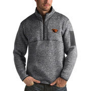 Men's Antigua Heathered Charcoal Oregon State Beavers Fortune 1/2-Zip Pullover Sweater