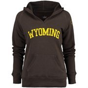 Women's Wyoming Cowboys Brown Chain V-Notch Hoodie