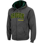 Men's Stadium Athletic Charcoal Oregon Ducks Arch & Logo Full Zip Hoodie
