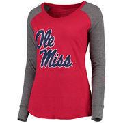 Women's Red Ole Miss Rebels Preppy Elbow Patch Slub Long Sleeve T-Shirt