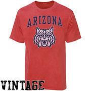 Arizona Wildcats Big Arch N' Logo Ring Spun T-Shirt - Heathered Red
