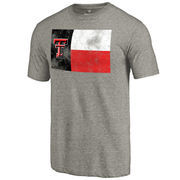Men's Heathered Gray Texas Tech Red Raiders State Flag Tri-Blend T-Shirt