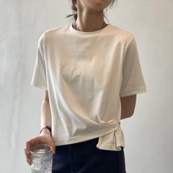 純色寬鬆不規則短袖T恤
